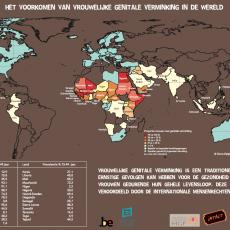 De wereldkaart met de prevalentie van vrouwelijke genitale verminking in de wereld