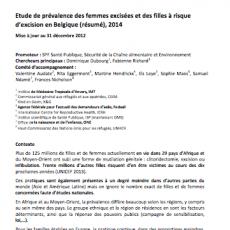 Etude de prévalence des femmes excisées et des filles à risque d'excision en Belgique
