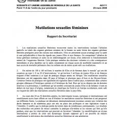 Female Genital Mutilation : Report by the Secretariat